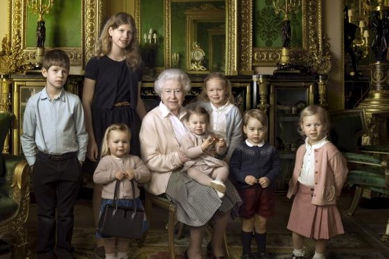 Britain's Queen Elizabeth II poses for Annie Leibovitz with her five great-grandchildren and her two youngest grandchildren in Windsor Castle to mark her 90th birthday