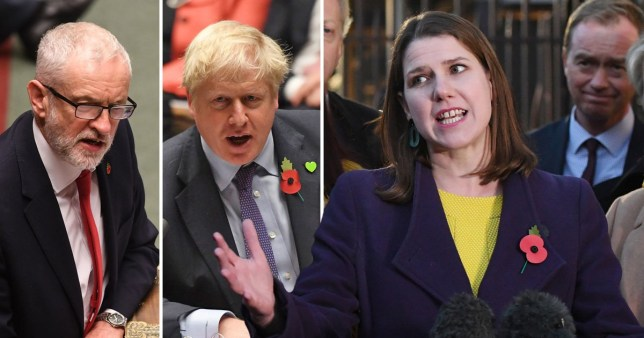 Jeremy Corbyn, Boris Johnson et Jo Swinson