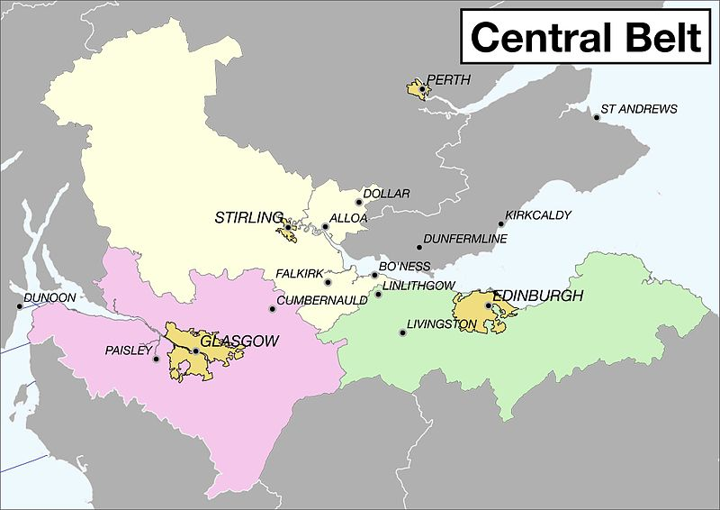 Carte de la Central Belt en Écosse